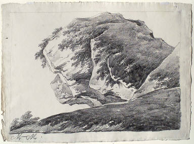 Study of a Rock Outcropping (with bushes at left)