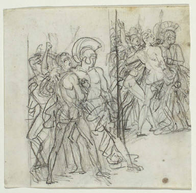 Recto: Two groups of warriors facing right, studies for the left side of Achilles Swearing