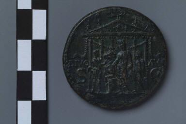Sestertius with Caligula sacrificing