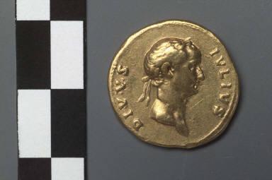 Aureus with head of Julius Caesar, struck under Trajan