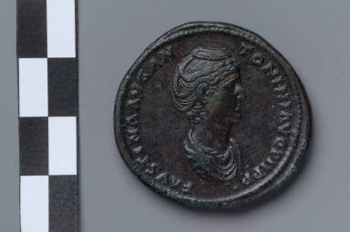 Sestertius with bust of Faustina