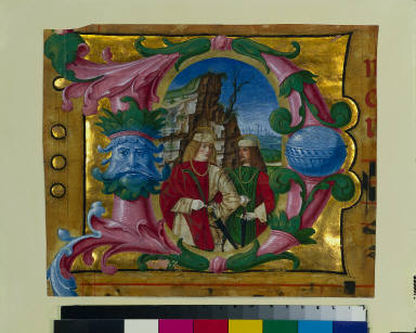Historiated Initial (D) Excised from a Choir Book: Two Martyr Saints
