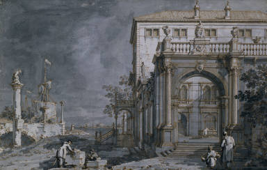 [Imaginary View of a Palace on the Shore of the Lagoon, The Villa Contarini, Capriccio: a Palace with a Courtyard by the Lagoon]