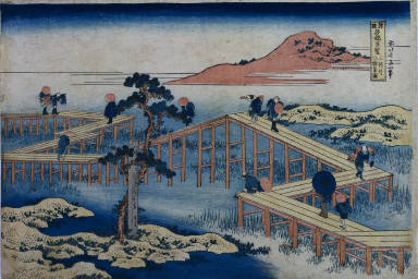 An Ancient Picture of the Eight Part Bridge in Mikawa Province