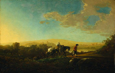 Travelers in Hilly Countryside