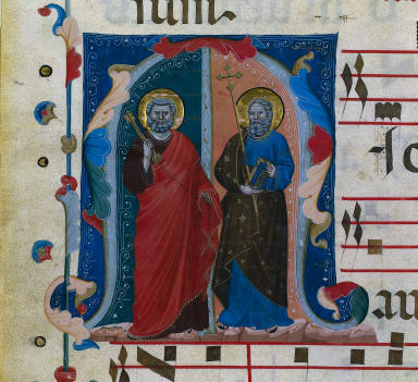 Leaf from a Gradual with Historiated Initial (M): SS. Peter and Andrew