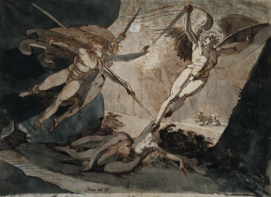 Satan Fleeing from Ithuriel's Spear: Illustration for Milton's Paradise Lost