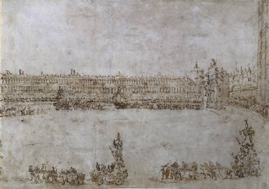 [A Procession of Triumphal Cars in Piazza San Marco, Venice, Celebrating the Visit of Archduke Paul and Archduchess Maria Feodorovna of Russia, A Procession of Triumphal Cars in Piazza S. Marco, Venice, Sfilata di Carri Allegorici in Piazza S. Marco]