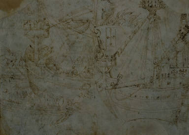 [Two Drawings of Ships, Studies of ships, (left) Sea Battle; (right) Ship Study, Sea Battle, Ship Study]