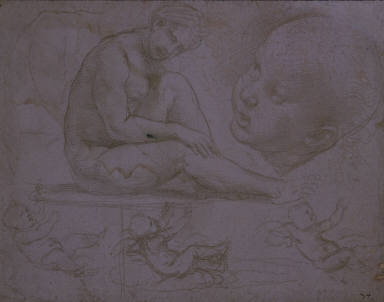 [Studies of the Virgin and Child, Studies of a Seated Model and a Child's Head; and Three Studies for the Infant Christ]