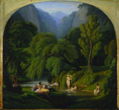[Les baigneuses, souvenir des bords de l'Anio, à Tivoli, The Bathers, Souvenir of the Banks of the Anio River at Tivoli]