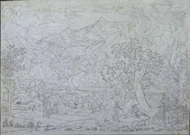 [The Grindelwald Glacier with Hunter and Peasant Girl in Foreground, Der Grindelwaldglescher mit Staffage, Der Grindelwald-Gletscher mit Figuren im Vordergrund]