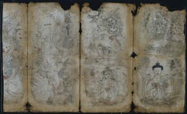 Iconographic Drawing: Vaishravana, Yama, Vsnisavijaya, Tara and Buddha (recto)