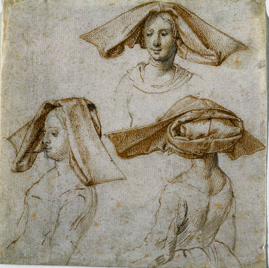 Three Studies of a Woman Wearing an Elaborate Headdress