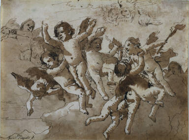 [Putti, Cupid in the Clouds with Attendant Cherubs]