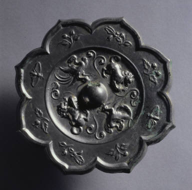 Octagonal Mirror with Phoenix and Lion Design