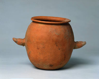 Jar with Impressed Surface Design and Ox-Horn Handles