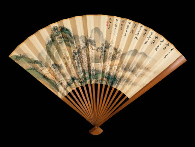 One of a Pair of Folding Fans: Landscapes with Scholarly Retreats