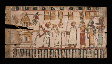 Coffin panel: Barque procession and iIntroduction to the funerary deities