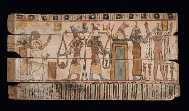 Coffin panel: Thoth and Horus weigh the heart of the deceased