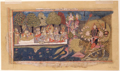 Devi approaches enthroned Visnu with other gods