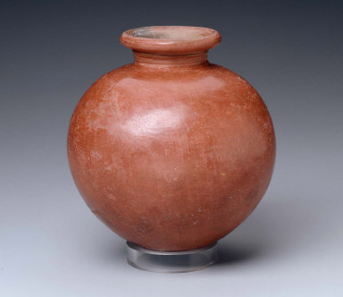 Red-polished vase with rilled neck