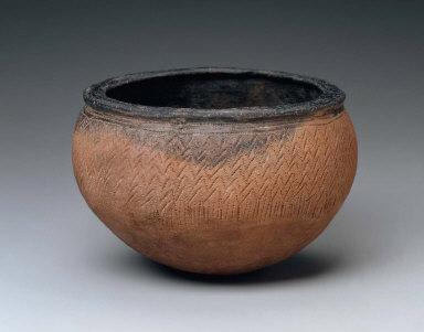 Black-topped, redware bowl