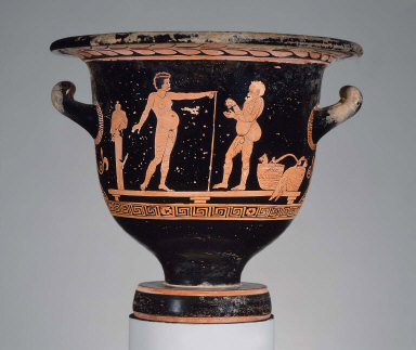 Bell-krater (mixing bowl) with Comic Athletes in a Palaestra
