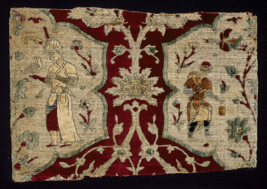 Textile fragment with falconer and servant