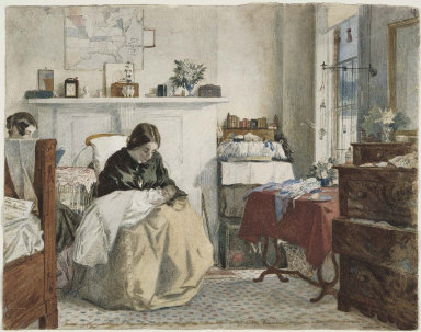 Bedroom with a mother holding a child
