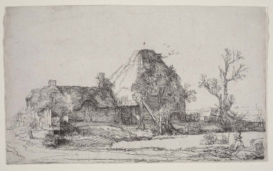 Cottages and Fram Buildings with a Man Sketching