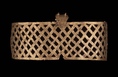 Band or pendant with lattice work and zoomorphic head