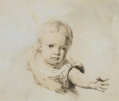 Baby Reaching (Study for OFFERING BABY A ROSE)