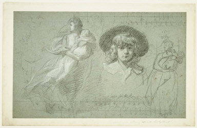 "Study for the Mother and Child and boy at right (Study for the painting ""The Death of Major Peirson"""
