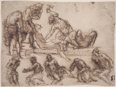 Christ Being Nailed to the Cross and Various Figure Studies: Christ at the Column; the Magdalen Washing Christ's Feet; a Bearded Saint, etc.