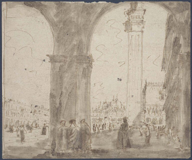 View of the Piazza San Marco, Venice; verso: Part of a Vaulted Arcade (of the Doge's Palace?) and an Interior
