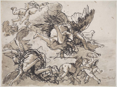 Flying Angels with Trumpets Accompanied by Putti