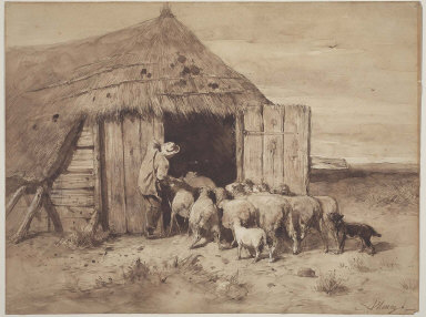 Shepherd with Herd and Dog entering Sheepcote