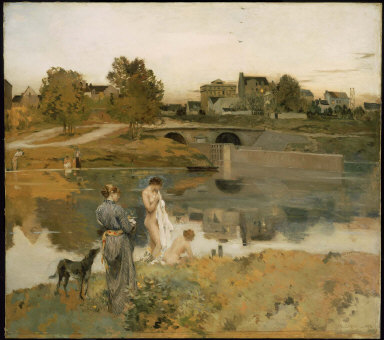 Riverbank with Bathers