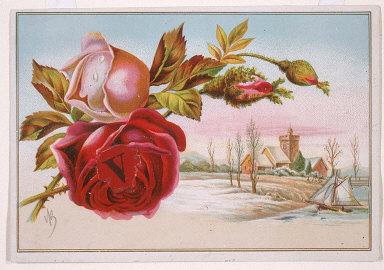 "Untitled (rose with the letter ""V"" in it center, landscape, sailboat)"