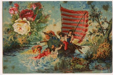 """Untitled (Sailboat with Five Women, Roses, the Letters """"OSÉ"""" and """"A"""" and """"A"""")"""