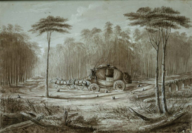 """Album of Western Sketches: Highways and Byeways of the Forest, a Scene on """"the Road"""""""