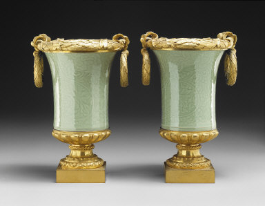 Pair of Vases with Ormolu Mounts
