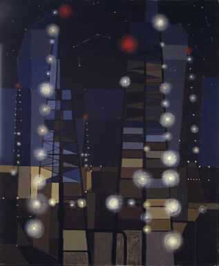 OIL DERRICKS AT NIGHT BY FORT WORTH ARTIST GEORGE GRAMMER (1952)