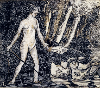 Bather with Geese