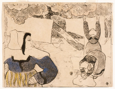 """Femmes étendant du linge (Women Hanging Laundry), from """"Les Brettoneries"""""""