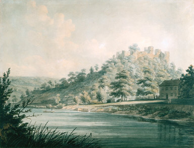 View of Goodrich Castle on the River Wye