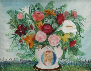 Vase de fleurs dans un champ de quenouilles