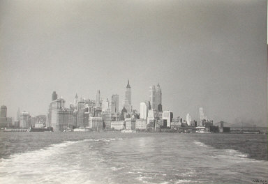 Untitled (view of New York City skyline from boat)