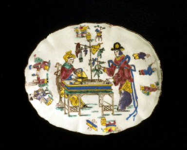 DISH with transfer-printed and painted decoration